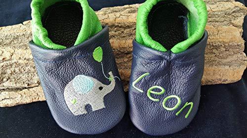 Krabbelschuhe aus Leder mit Wunschnamen Elefant mit Luftballon für Jungen dunkelblau/grün