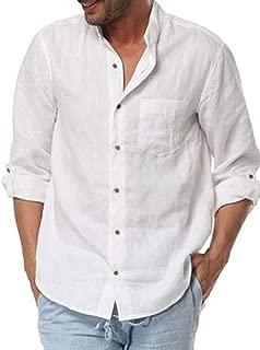 Mens Button Up Linen Shirts Banded Collar Summer Beach Tops Long Sleeve Regular Fit Shirts