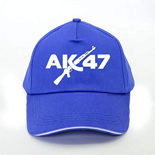 Kuletieas Gorras De Hombre Moda Ak47 Gorra De Béisbol Uzi Gun Letter Print Hip Hop Cap Hombres Mujeres Ocio Ajustable Snapback Hat Bone Blue