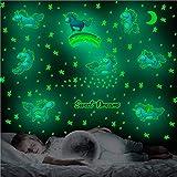 Unicornio Estrellas luminosas adhesivo de pared para habitación de niños y niñas, cielo estrellado, pegatinas luminosas, pegatinas luminosas para habitación de bebé, decoración (D)