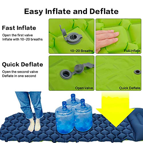 UOUNE Ultralight Sleeping Mat with Pillow Inflatable Air Camping Pad - Waterproof and Moistureproof - Compact and Portable Mattress for Outdoor, Sport, Hiking, Backpacking, Traveling (Blue-Green)