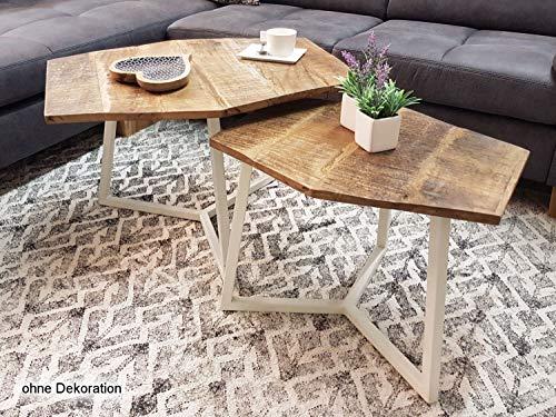 Couchtisch Set 2 Stück Wohnzimmer Tisch Satztisch Paris Metall-Gestell schwarz oder weiß Farbe reinweiß - Tabacco