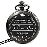 LEVONTA Grandpa Gifts from Granddaughter Grandson for Birthday Fathers Day Christmas, Unique Pocket Watch for Granddaddy Grandfather (to My Grandpa)