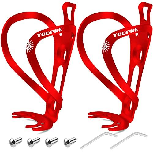 HNOOM Portaborraccia Bici, Porta Borraccia Bicicletta Premium Alluminio Porta Borracce Bici Leggero e Resistente Portaborraccia MTB con Fissaggio a Vite, 2 PCS (Rosso)
