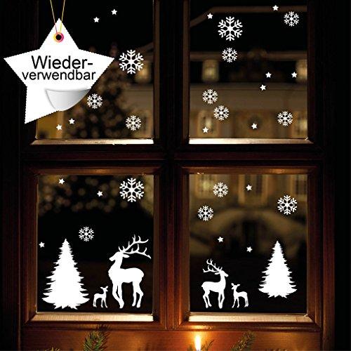 Wandtattoo-Loft Fensteraufkleber Winterwald mit Schneeflocken und Rentieren WIEDERVERWENDBAR 56 Aufkleber im Set