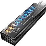SmartDelux Powered USB Hub - 7-Port USB 3.0 Hub with 4 USB 3.0 Ports, 3 Smart Charging Ports, Power Adapter, Long Cord, LEDs - Black Aluminum