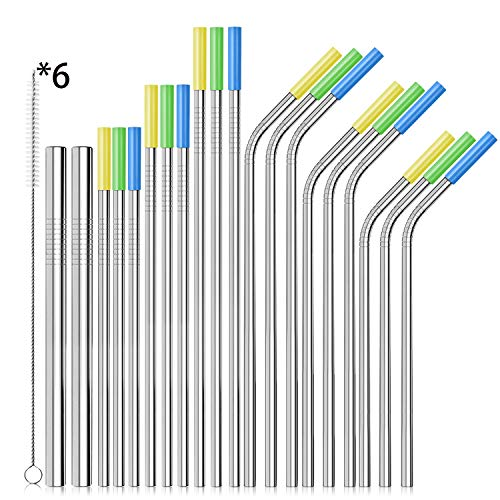ASOFFI Set of 20 Stainless Steel Straws Drinking Metal Straws for 30oz Rumblers Cold Beverage (11 Straight+9 Bent+6 Brushes)
