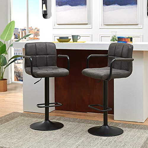 Duhome Elegant Lifestyle X-Large Bar Stools - Square Tech Fabric Adjustable Counter Height Swivel Stool Arm Chairs Set of 2 with Bigger Base Dark Gray