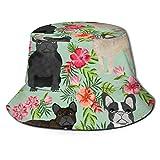GMGMJ Sombrero de pescador hawaiano francés único sombrero de cubo unisex protección solar para mujeres y hombres negro