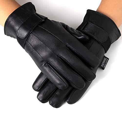 Alpine Swiss Mens Gloves Dressy Genuine Leather Warm Thermal Lined Wrist Strap BLK L