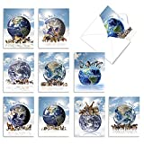 The Best Card Company - 10 Blank Animal Cards Boxed (4 x 5.12 Inch) - Assorted Pets, Zoo, Wildlife Cards for Kids - Uno Mundo AM6840OCB-B1x10