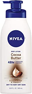 NIVEA Cocoa Butter Body Lotion - 48 Hour Moisture For Dry Skin To Very Dry Skin - 16.9 oz. Pump Bottle