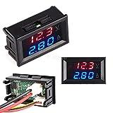 Calistouk DC 0-100V 10A LED rojo azul doble pantalla digital amperímetro de voltaje para uso doméstico rojo+azul y 10A