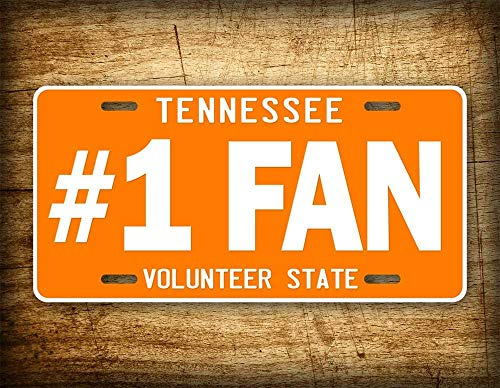 Fhdang Decor Tennessee License Plate Big Orange & White VOLS Tn Volunteers Auto Tag #1 FAN College Football NCAA