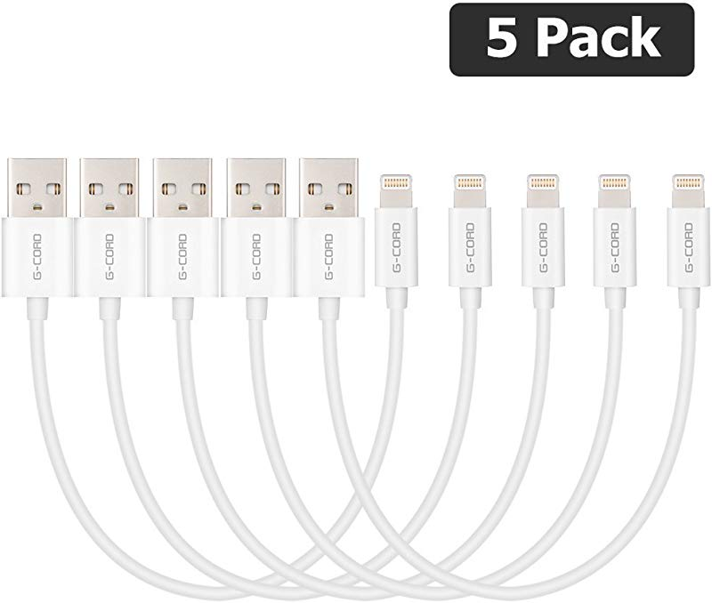 G Cord Apple MFI Certified Short Lightning To USB Charging And Sync Cable 5 Pack 7 Inch