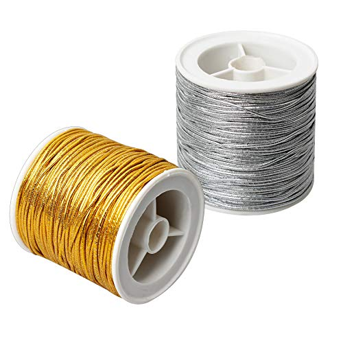 LUJUE Metallic Elastic Cords Metallic Stretch Cord Ribbon Metallic Tinsel String Cord Rope for DIY Craft Making Gift Wrapping Elastic Bracelet Jewelry Making, 64m / 70Yards (Gold and Silver)