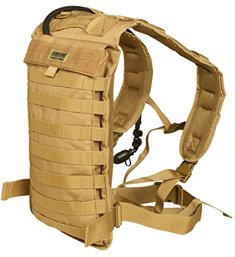 Seibertron Tactical Molle Hydration Carrier Pack Backpack Great for Outdoor Sports of Running Hiking Camping Cycling Motorcycle Fit 2L or 2.5L Water Bladder(not Included) Khaki