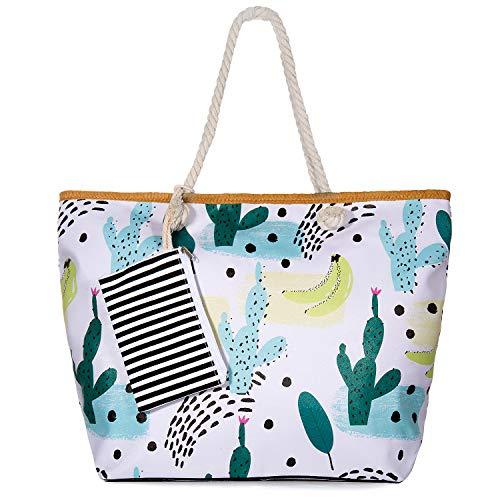 SenPuSi Große Strandtasche mit Reißverschluss Shopper Schultertasche Leinwand Sommer Schwimmbad Damen TascheVerschluss Badetasche Umhängetasche für Reise, Kaufen, Ausflug usw (Kaktus)