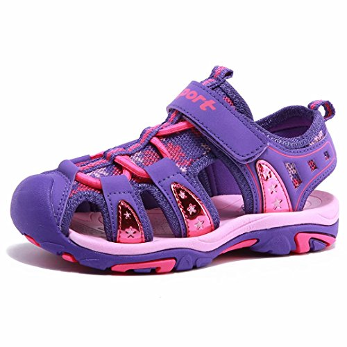 Girls' Summer Outdoor Beach Sports Closed-Toe Sandals Purple, 9 Toddler