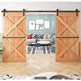 12 FT (US Based) Heavy Duty Double Door Sliding Barn Hardware Kit Smooth, Quiet Tested Over 100,000 Times - Super Easy to Install - Step-by-Step Installation Manual Included Fit 30-42' Wide Panels