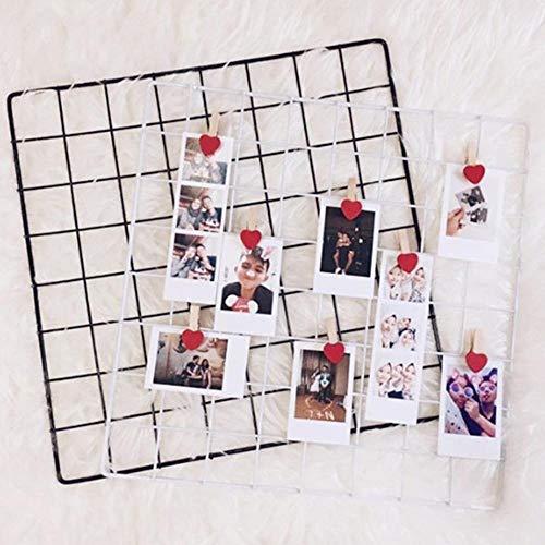 ZZKHSM 35 * 35 cm Metallgitter Wand Postkarten Eisen Mesh Fotos Rahmen Display Home Schlafzimmer Dekoration Quadrat Regal Ablage Regale-Black_Metal_Grid