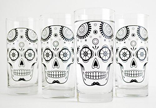 Sugar Skull Glasses - Set of Four 16oz Halloween Glasses, Day of the Dead Glassware, Sugar Skulls