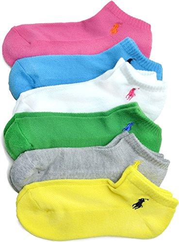 Polo Ralph Lauren Women's 6-Pk Sport Bright Asst-6 Socks Sz: 9-11 Fits 4-10.5