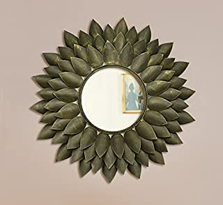 Logam Blooming Flower Antique Black Decorative Wall Mirror, 77 x 77 x 8 cm