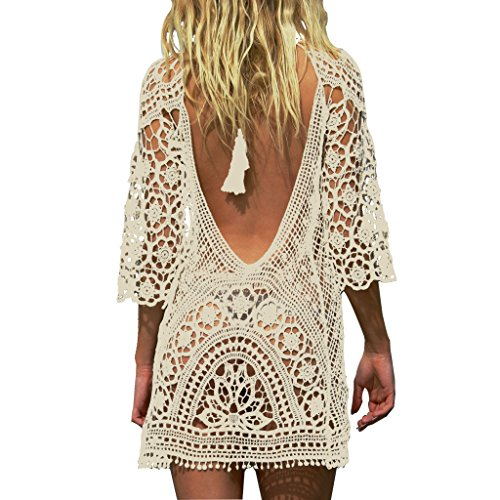 Jeasona Women's Bathing Suit Cover Up Crochet Lace Bikini Swimsuit Dress (Beige, L)
