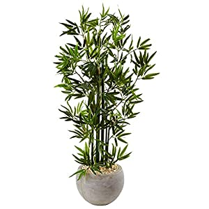 Nearly Natural 4' Bamboo Artificial Tree in Sand Colored Bowl, Green