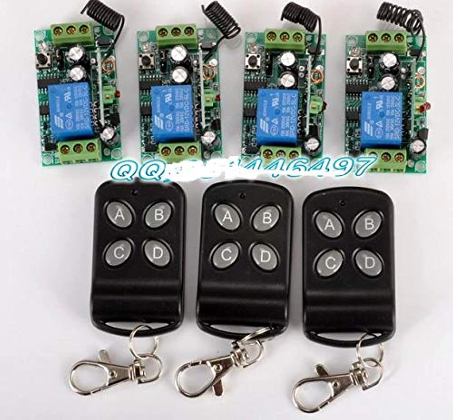 DC 12V 10A 1CH RF Wireless Remote Control Switch System 4 Receiver & 3 Transmitter Learning Code Receiver