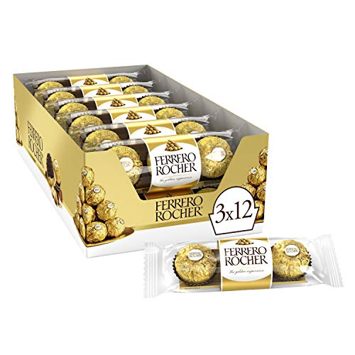 Ferrero Rocher Fine Hazelnut Milk Chocolate, 3 Count, Pack of 12 Individually Wrapped Chocolate Candy Gifts, 1.3 Oz