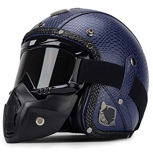 qwert Moto para Adultos 3/4 Casco de Cara Abierta Aprobado por Dot Medio Casco de Motocicleta para Hombres y Mujeres Casco de Crucero de Estilo Vintage Gorra de Motocicleta (M ~ XXL)