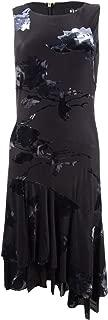 DKNY Womens Black Floral Sleeveless Jewel Neck Midi Layered Dress US Size: 4