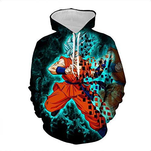 Cosplay 3D Printed Graphic Hoodies,Super Saiyan hoodie, Dragonball Z Goku men's/women's sweatshirt-Dragon Ball Flame Blue_XXL