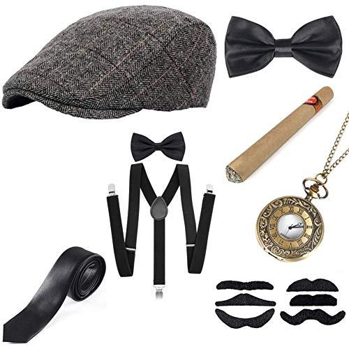 Sinoeem 1920s Accessoires Set Damen Retro Stil und Herren Accessoires Mafia Gatsby Kostüm Set für Abschlussball Event Weihnachten Party der 1920s Jahre Gatsby Art Deco Flapper Party (Set-C)