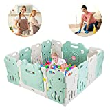 JOYMOR 14 Panels Baby Playpen, Non Toxic BPA-Free Safety Baby Fence, Extra Larger Rubber Anti-Skid Play Yards, Kids Activity Center with Locked Door for Home Indoor Cute Frog