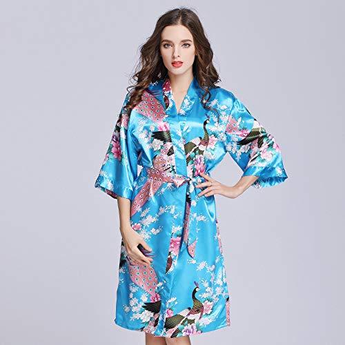 Handaxian Peacock Robe Ärmel Seide Seide Pyjama Bademantel Damen Sommer Seide Single Nachthemd Home Service