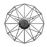 時計 壁掛け時計は - 50センチメートルサイレントアイアンアートウォールデコレーション掛時計外のホームインテリアオフィスヨーロピアンスタイルのポリゴン中空のための時計モダンデザイン時計をウォールマウント 意識し、あなたの時間を作ります (Color : Black)