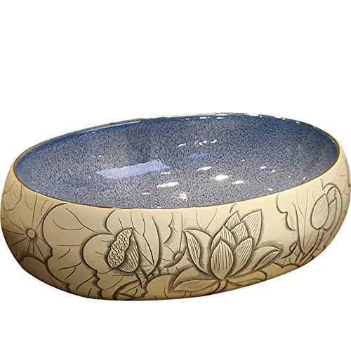 Estilo Oval sobre Encimera Grifos Lavabo,Estilo Retro Europeo Salpicaduras Impermeables De Cerámica Arte,Adecuado Baño Cocina Lugares Públicos Lavabo