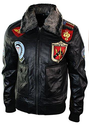 Herren Lederjacke Bomber US Schwarz Militär Aviator Jacke Fellkragen Logo