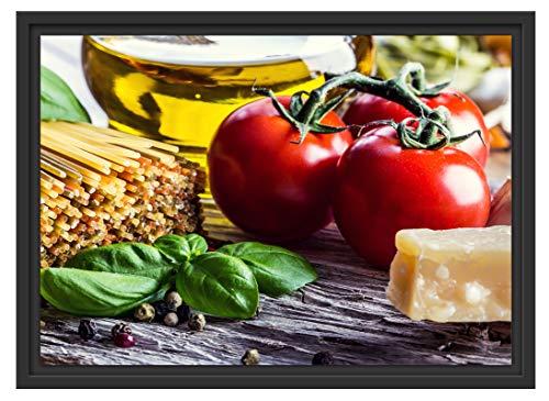 Picati Spaghetti Tomaten Parmesan im Schattenfugen Bilderrahmen/Format: 55x40 / Kunstdruck auf hochwertigem Galeriekarton/hochwertige Leinwandbild Alternative