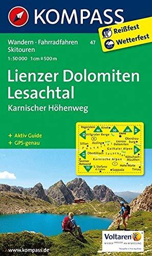 Lienzer Dolomiten - Lesachtal - Karnischer Höhenweg: Wanderkarte mit Aktiv Guide, alpinen Skirouten und Radrouten. GPS-genau. 1:50000 (KOMPASS-Wanderkarten, Band 47)
