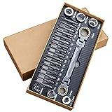 Juego de llaves de trinquete multifuncionales 23 piezas, llave de trinquete flexible con cabeza de carraca, herramienta de reparación automática de puntas de destornillador