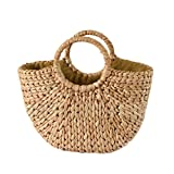 knowledgi Straw Beach Bag - Bolsa de ratán semicircular