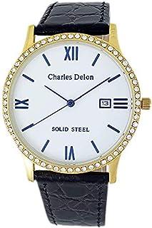 Charles Delon Men's Quartz Watch, Analog Display and Leather Strap 4873 GGWB