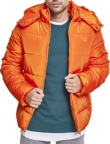 Urban Classics Herren Hooded Puffer Jacket Jacke, Rust orange, M