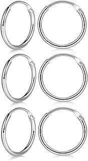 3 Pairs Sterling Silver Small Hoop Earrings Set Hypoallergenic Endless Cartilage Huggie Earrings Sleeper for Women Men Girls, 8mm 10mm 12mm