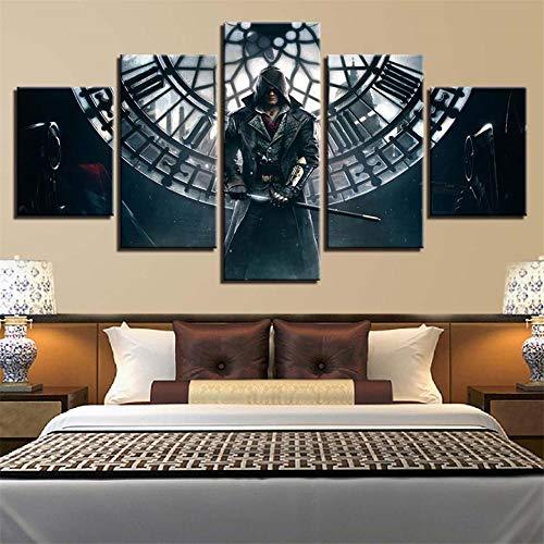 Bhwlltv 3D Wandaufkleber Kunst Malerei Rahmen Wandbild Ölgemälde Tapete Leinwand Gemälde 5 Stücke Anime Home Decoration Poster Assassin's Creed Gürtelrahmen 40x100CM