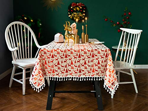 Gravan Rectangle Tablecloth Merry Christmas Vintage Printed and Spill Proof Water Resistant Table Cover for Home and Kitchen